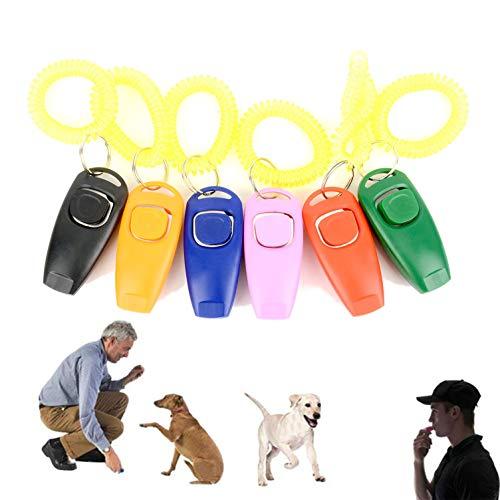 Zunea 2 in 1 Hundeclicker und Pfeife für Training mit Handgelenkschlaufe und Schlüsselanhänger, tragbares Outdoor-Trainingsgerät für Haustiere, Hunde, Katzen, Welpen, Kätzchen, Pferd -
