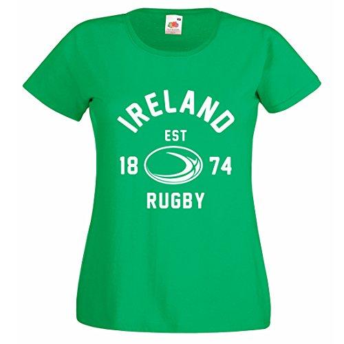 Mujer Irlanda Balón Rugby camiseta manga corta Verde