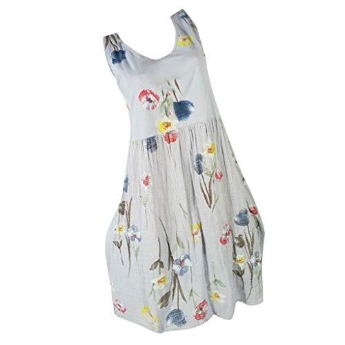 AIni Damen Sommerkleid Mode Lässig Rundhals Kleid Elegant ärmelloses Minikleid Blumendruck...