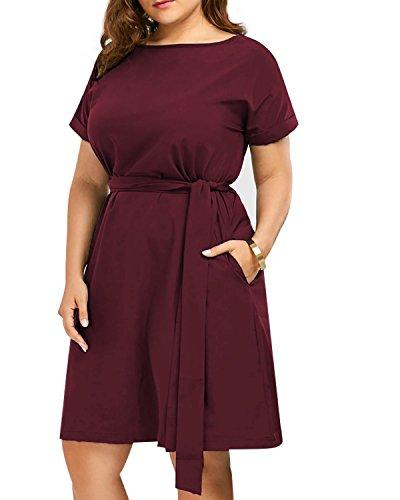 CNFIO Elegant Kleid Damen Schulterfrei Kleider Sommerkleider Ärmelose Minikleid Übergröße A-Linie Knielang Shirtkleider Plus Size mit Gürtel C-Wein Rot EU46