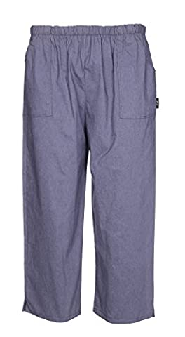 Womens Elasticated Waist Stretch Summer 3/4 Three Quarter Length Cropped Trousers Bottoms Ladies Summer Capri Crop Shorts Pants Plus Size 8 10 12 14 16 18 20 22 (18-20, Denim Blue)