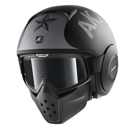 Shark casco Moto Raw Soyouz mate KSK, negro, talla XL