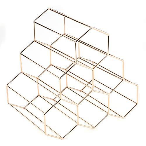 EBTOOLS Weinregal aus Metall für 6 Flaschen, Design Dreieck, goldfarben, Dekoration für Haus Bar