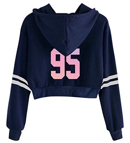 Navy Blue Jacke Hot (HAIZIVS BTS Navel Hoodie Navy Blue Hot Short Sweatshirt Gradient Printed Pullover Hooded Sweater for Woman V 95)