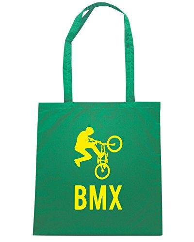 T-Shirtshock - Borsa Shopping SP0041 BMX Biker Jumping Maglietta Verde