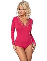 Damen Body Langarm Bodysuit Tanz Body mit Spitze von Gaia BDV044