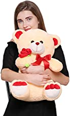 Mable Cuddle Big Teddy Bear 55cm with Soft Rose (Beige)