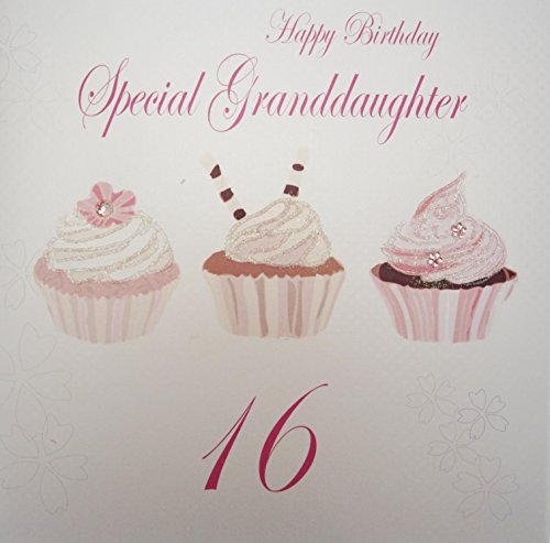 White Cotton Cards Large Happy Birthday Special Granddaughter 16 Cupcakes Handmade 16th Card