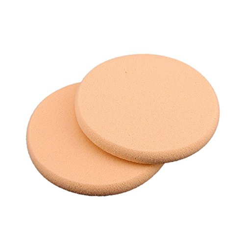 TOOGOO(R) 2 Eponge Houppe Rond pour Poudre Fond de Teint Maquillage Demaquillage