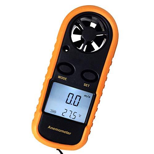 Anemómetro digital portátil Mini 2 en 1 con termómetro, medidores de velocidad del viento de flujo de aire, m / S, km / H, Ft / min., Nudos, mph, Celsius (° C) o Fahrenheit (° F)