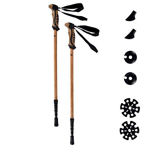 Nordic Walking Stöcke Premium - hochwertiges Holzdesign - Superleicht - auswählbar mit Tragetasche - Walking Sticks