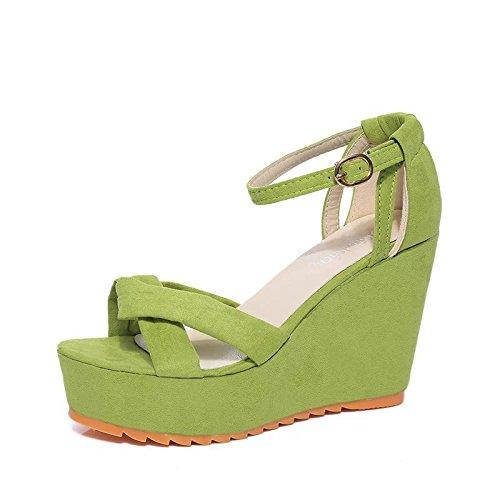 Der neue weibliche hochhackige Sandalen Hang mit dem Fischkopf flach Mund Gürtelschnalle Schuhen mit wasserdicht Sandalen Wort Green