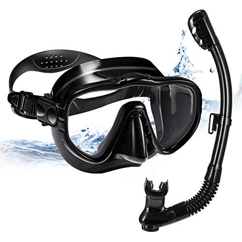 OMORC Set de Plongée avec Tuba,Masque de Plongée Anti-Fuite Respiration Libre Sangle Réglable,Verre trempé Anti-buée Vision Panoramique Clear 180°pour Adultes (Noir)