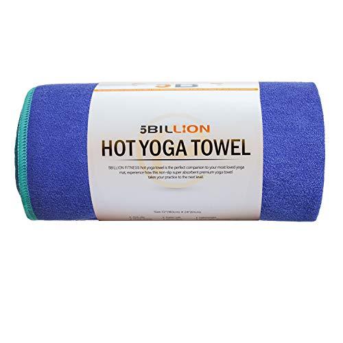5BILLION Mikrofaser Yoga Handtuch für Yogamatte – 183 cm x 61 cm – Hot Yoga Handtuch, Bikram Yoga Handtuch, Ashtanga Yoga Handtuch – Non Slip, Super Saugfähig, Schnelles Trocknen – Frei Tragetasche