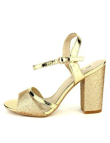 Cendriyon, Sandales Dorées pailletées ML Shoes Chaussures Femme