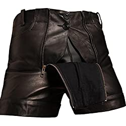 Bockle® 1991 Pants pantalones de cuero cortos negro, Size: W34/L30