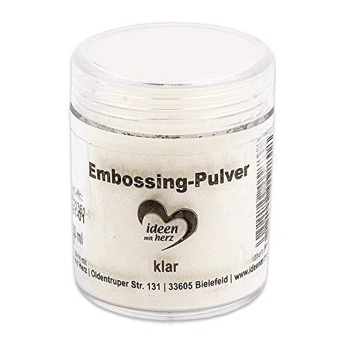 Ideen mit Herz Embossing-Pulver | Puder für Embossing | 30 ml | klar