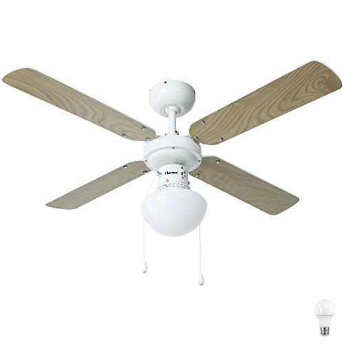 50 W Decken Ventilator Flügel wendbar Glas Leuchte Lüfter Kühler im Set inklusive LED Leuchtmittel