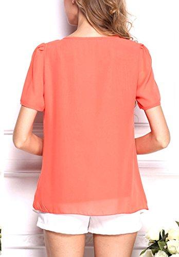... Chiffonbluse Damen Kurzarm Bluse Oversize Sommer Elegant Rundkragen  Normallacks Slim Fit Casual T Shirt Orange