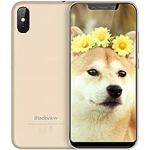 """Blackview A30 Smartphone Dual Sim, 5.5"""" Tutto Schermo (19: 9) Cellulari Android 8.1 Oreo 5.0MP Anteriore + 8.0MP Telecamere Posteriori, 2GB + 16GB, 2500mAh Batteria, 3G Offerte Cellulari Oro"""