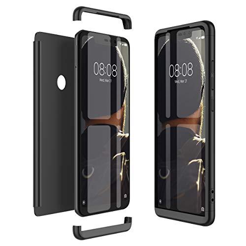 Winhoo Kompatibel mit Xiaomi Redmi Note 6 Pro Hülle Hardcase 3 in 1 Handyhülle 360 Grad Schutz Ultra Dünn Slim Hard Full Body Case Cover Backcover Schutzhülle Bumper - Schwarz