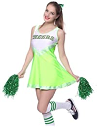 maboobie Tenue Complete Debardeur Jupe a Volant Pom-Pom Girls Cheerleader Vert av/ 2 Pompons L (38-40)