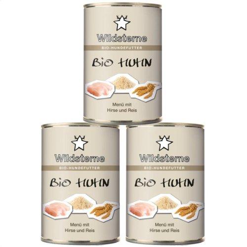 Artikelbild: Wildsterne Bio-Huhn Hundenassfutter, 3er Pack (3 x 410 g)