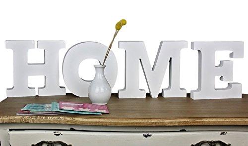 elbmöbel Love Home Schriftzug Buchstaben shabby-chic aus Holz in weiß Schild Schrift (Home) (Home Schilder)