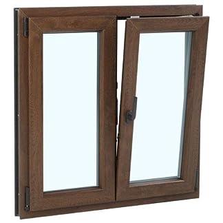 Ventana PVC 100 cm x 100 cm | Imitación Madera | 2 hojas | Oscilobatiente | Alto aislamiento termico y acustico | Vidrio doble hoja Climalit | Practicable | Resistente al sol | Apertura Derecha