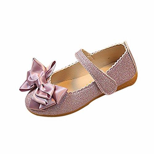 Dorical Babyschuhe Ballerinas Mädchen Schuhe Sommer Party Prinzessin Bowknot Dance Nubukleder Kinderschuhe Mädchen Schuhe Outdoor Princess Schuhe Gr.21-30 EU Reduziert(Lila,27 EU) -