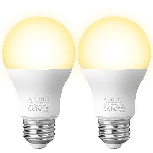 Smart WLAN LED Lampe Glühbirne AISIRER E27 2700K Birne mit Warmweiß Licht Wifi Glühbirne 806LM,steuerbar via App dimmbare,kompatibel mit Amazon Alexa (Echo,Echo Dot) und Google Assistant (2 Stück)