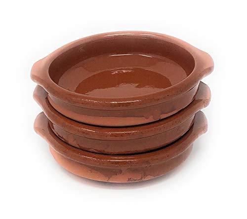 Alfareria Padilla 3er-Set Cazuela Tonschale rustikale Servierschale mini, traditionel, flach, rund, braun 10 cm | 3x10cm