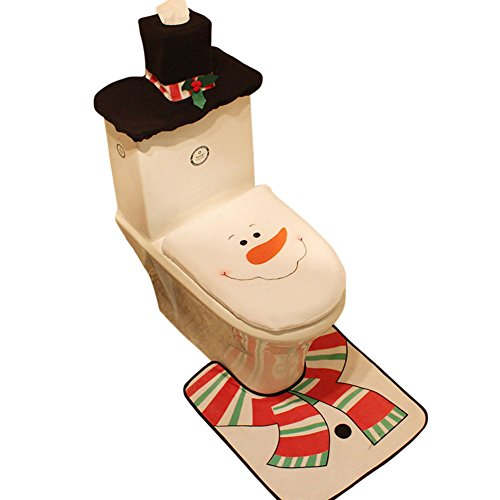 Drawihi Navidad Alfombra Baño +Cubierta Cartón Cubierta
