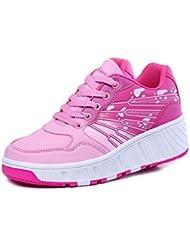 iBaste ventilación Zapatos de moda caminar rápido con ruedas automático niños Patines