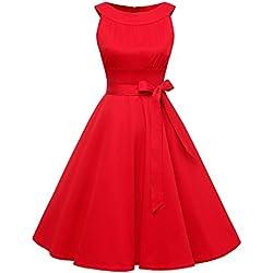 Timormode Vestido 1950s Scoop Vintage Mujer Rockabilly Women Retro falda globo vestido de noche largo Mujer falda cintura alta falda larga fiesta con volantes 10408 Rojo L