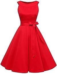 Timormode Vestido Corto De Fiesta Vintage Color Sólido Sencillo Y Elegante Rockabilly Mujer