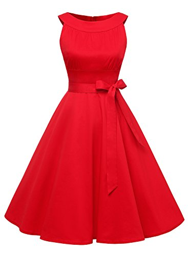 Timormode Damen Retro Kleid Kurz Vintage Swing Cocktailkleid Rockabilly Einfarbig 10408 M Rot