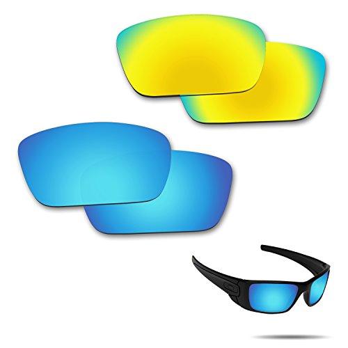 Fiskr Anti-Saltwater Polarisierte Ersatz Gläser für Oakley Fuel Cell Sonnenbrille, 2Paar Verpackt, Ice Blue & 24K Gold