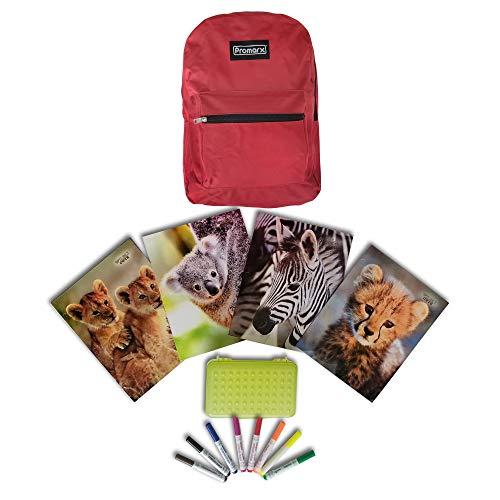 Rot Rucksack-Safari Motto Schule Supply Kit-Back To School Supplies-14Stück umfasst: 1rot Rucksack, 4School Ordner Sortiment, 8waschbar Marker + Bonus Bleistift Box