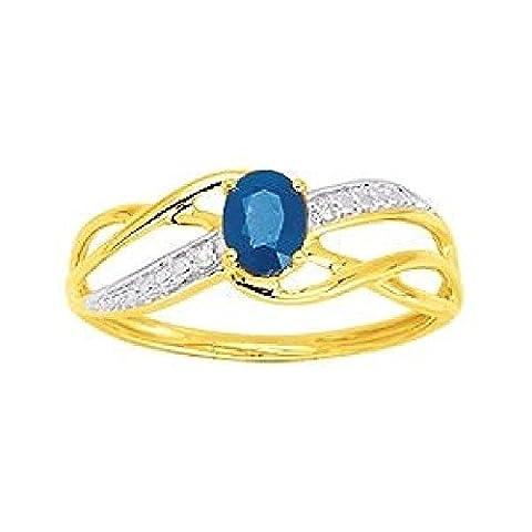 So Chic Bijoux © Bague Anneau Femme Vagues Ciselées Solitaire Saphir Bleu & Diamants 0,01 ct Or Jaune 375/000 (9 carats) - Taille