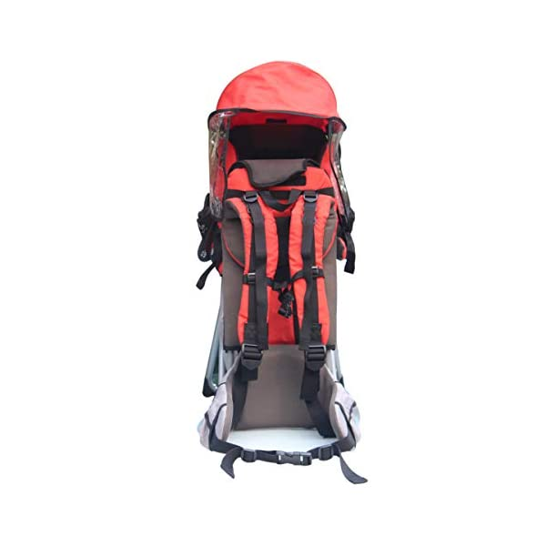 Baby Toddler Hiking Backpack Carrier w/Stand Child Kid Sunshade Shield XTLSTORE 【SAFELY AND COMFORTABLY】Your child will be carried safely in his comfortable seat with safety straps and stirrups. The Baby Backpack also has a removable sunshade that shields your little one from the elements. 【MULTIPLE POCKETS】Featuring multiple pockets, there are mesh pockets on the outer surfaces and extra a large pocket on the back to keep your wallet, cellphone, snacks, diapers and necessities. The carrier has pockets on both sides for your keys and water bottle also. 【ADJUSTABLE&FOLDABLE】Comfortable to carry and ride with thick pads and adjustable system to provide a comfortable fit for you and your child. Metal stands allow it to sit upright on a flat surface and can be quickly folded in when on the go. It can be folded by lifting the latch when not in use. 3