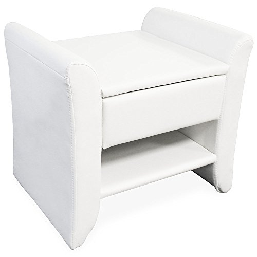 [corium] Polster - Nachttisch (weiss) (47cm x 37cm x 44cm) Nachtkonsole mit Schublade und Ablagefläche / Kunst - Leder / Kunstlederbezug / Beistelltisch Kommode Schlafzimmer Tisch (Kunst-schubladen)