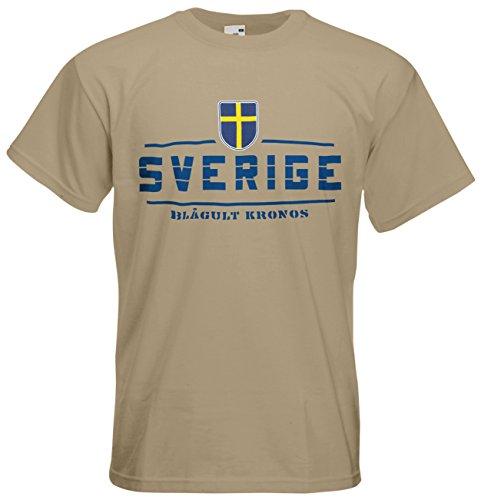 AkyTEX Schweden Sverige EM 2016 Fanshirt T-Shirt Trikot (Khaki, L)