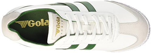 Gola Harrier Leather, Baskets Basses homme Blanc - White (White/Dark Green)