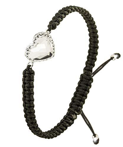 Imagen de papoly® pulseras de macramé con detalle de plata de plata de ley 925 y cristale swarovski®, bolsa de regalo, se ajusta fácilmente.heart crystal