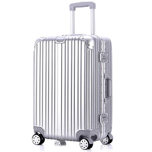 HUANGA HUANGDA Trolley Case caso telaio in alluminio da uomo e donna 24 caselle password 20 pollici 26 Box in pelle da 22 pollici bagaglio - Argento (Color : Silver, Dimensione : 24 inches)