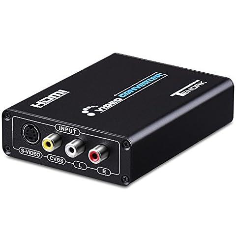 Tendak Convertisseur 3RCA AV CVBS Composite & S-Video R/L Audio Vers HDMI Convertisseur Adaptateur Vidéo Audio Upscaler Supporte 720P/1080P avec Câb