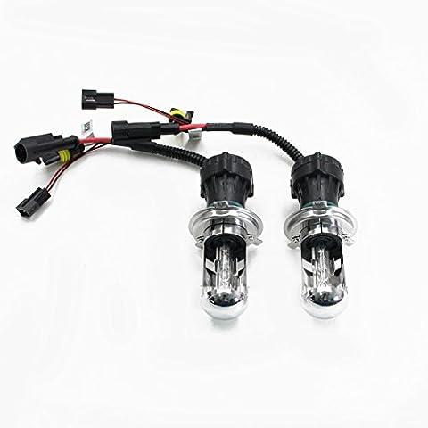 Win Power 35W Hi/lo Beam HID Bi-Xenon Beam Headlight Replacement Bulbs Light Lamp-H4 8000K, Pack of 2 - Bright Blue Headlights