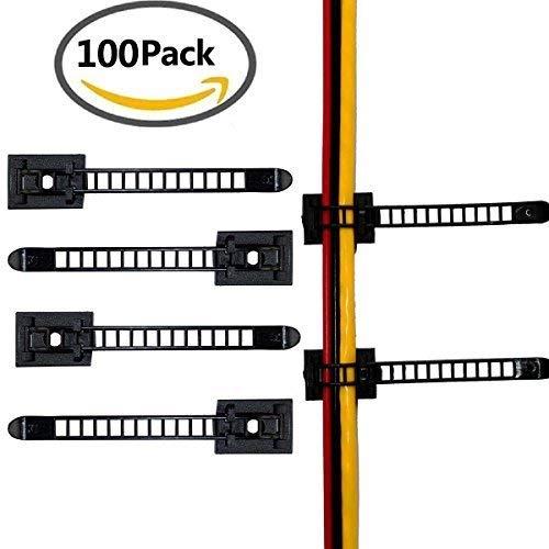 100 Piezas Clips de cable ajustables, 3M abrazaderas de cable, clips de...