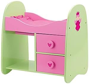 Bayer Design - 51107 - Mobilier De Poupée - Lit Bois - Princess Rose/vert Avec Rangements - 50/36/51 Cm
